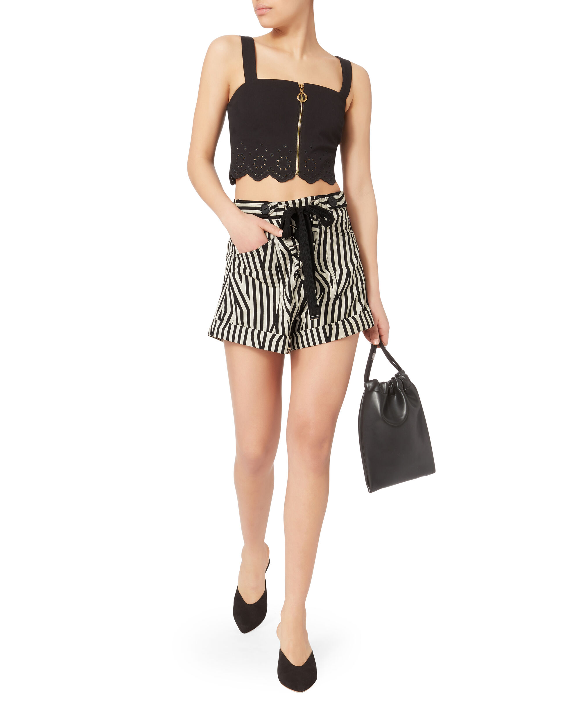 Abstract Striped Shorts, BLK/WHT, hi-res