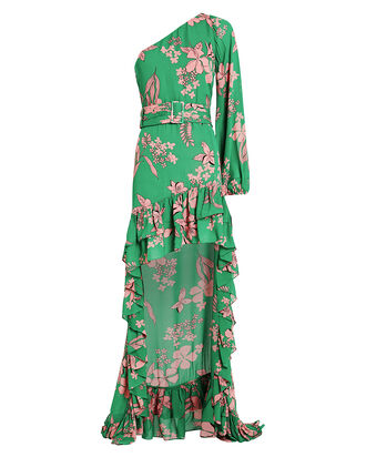 Jules Chiffon One Shoulder Floral Dress, GREEN/FLORAL, hi-res