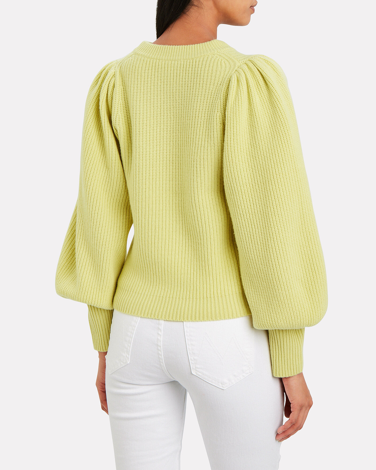 Eliana Puff Sleeve Cashmere-Blend Sweater, YELLOW, hi-res