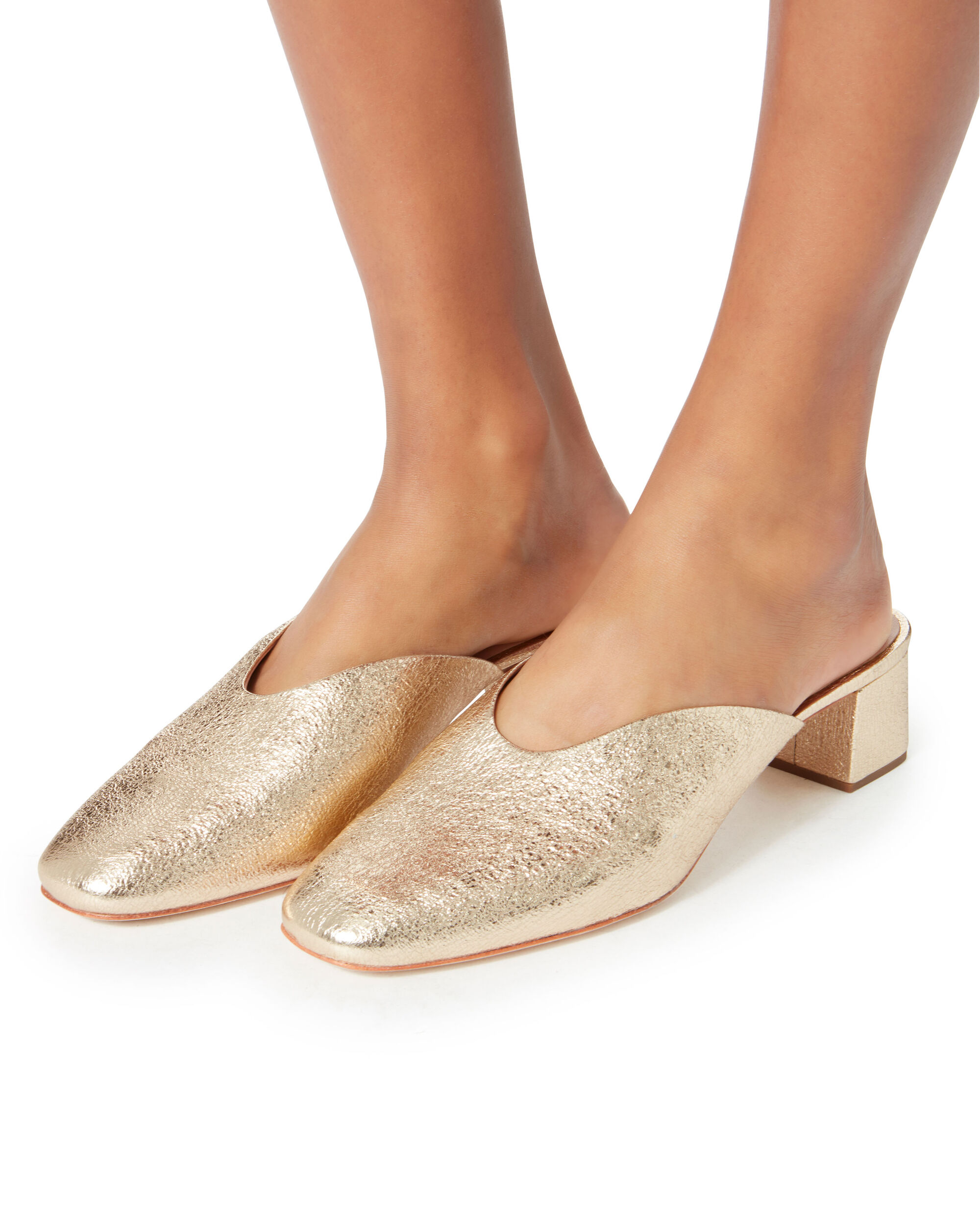 Lulu Crinkle Metallic Gold Leather Mules, GOLD, hi-res