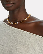 Irene Pearl Chain Necklace, GOLD, hi-res