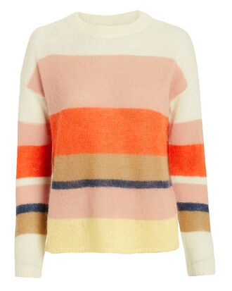 Angel Colorblocked Sweater, CREAM/PINK/ORANGE, hi-res