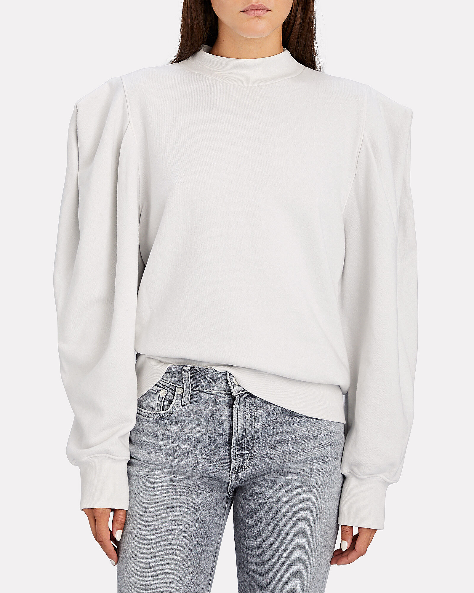 Strong Shoulder Cotton Sweatshirt, WHITE, hi-res