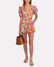 Solar Forest Printed Cotton Romper, PINK/BROWN/YELLOW, hi-res