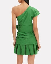 One Shoulder Gathered Mini Dress, GREEN, hi-res