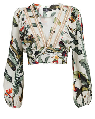 Tropical Cropped Wrap Top, WHITE TROPICAL PRINT, hi-res