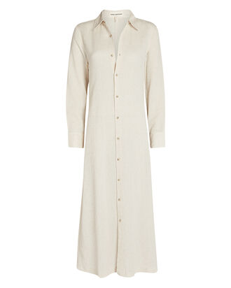 Cinzia Cotton-Linen Shirt Dress, BEIGE, hi-res