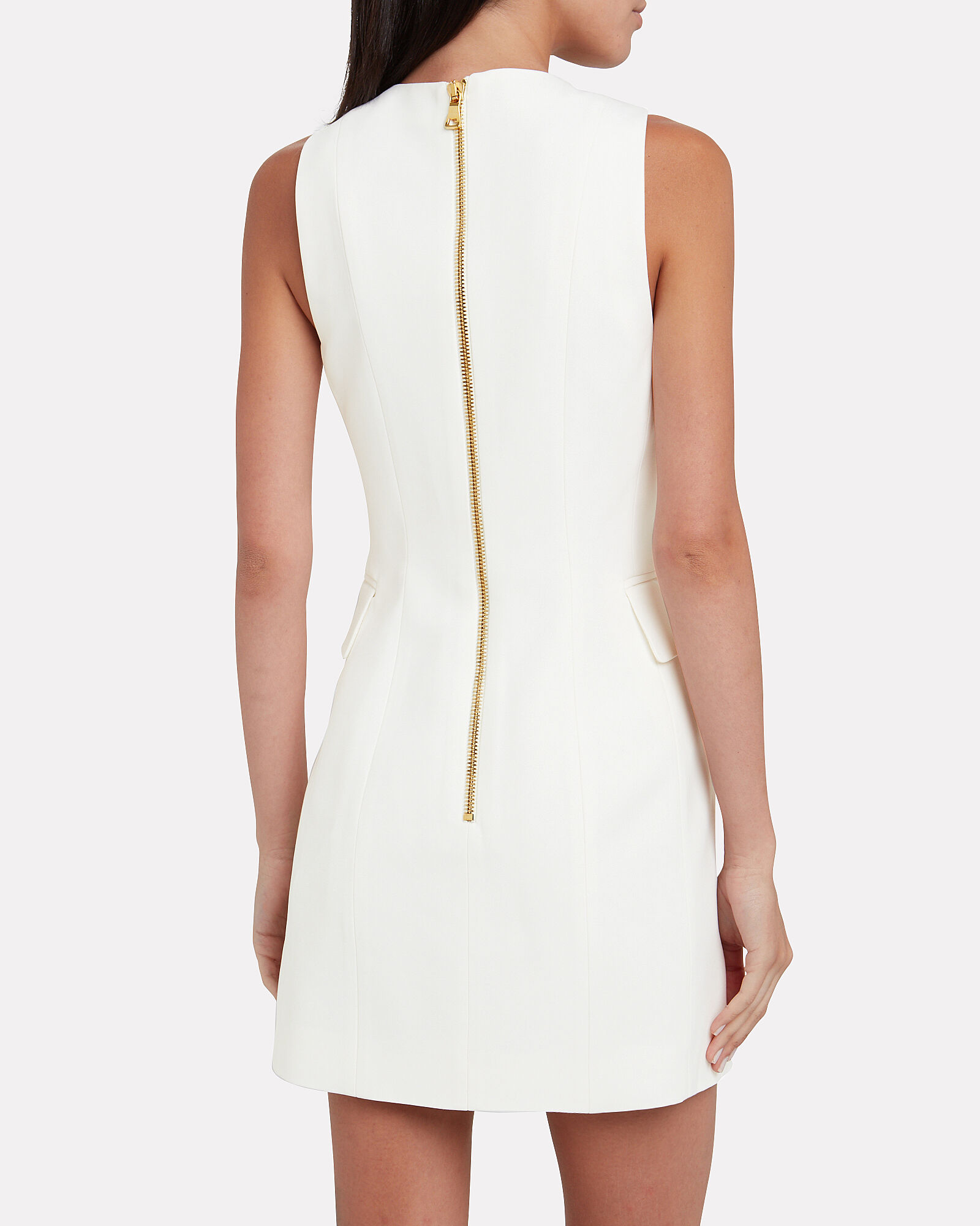 Tailored Double Breasted Wool Dress, WHITE, hi-res