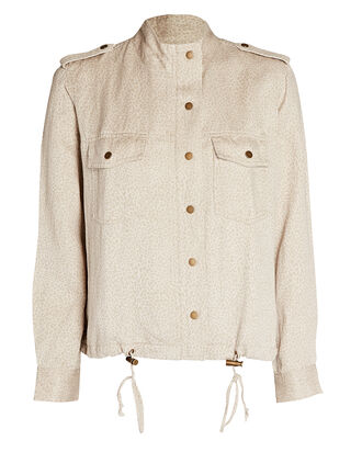 Collins Cheetah Print Military Jacket, WHITE, hi-res