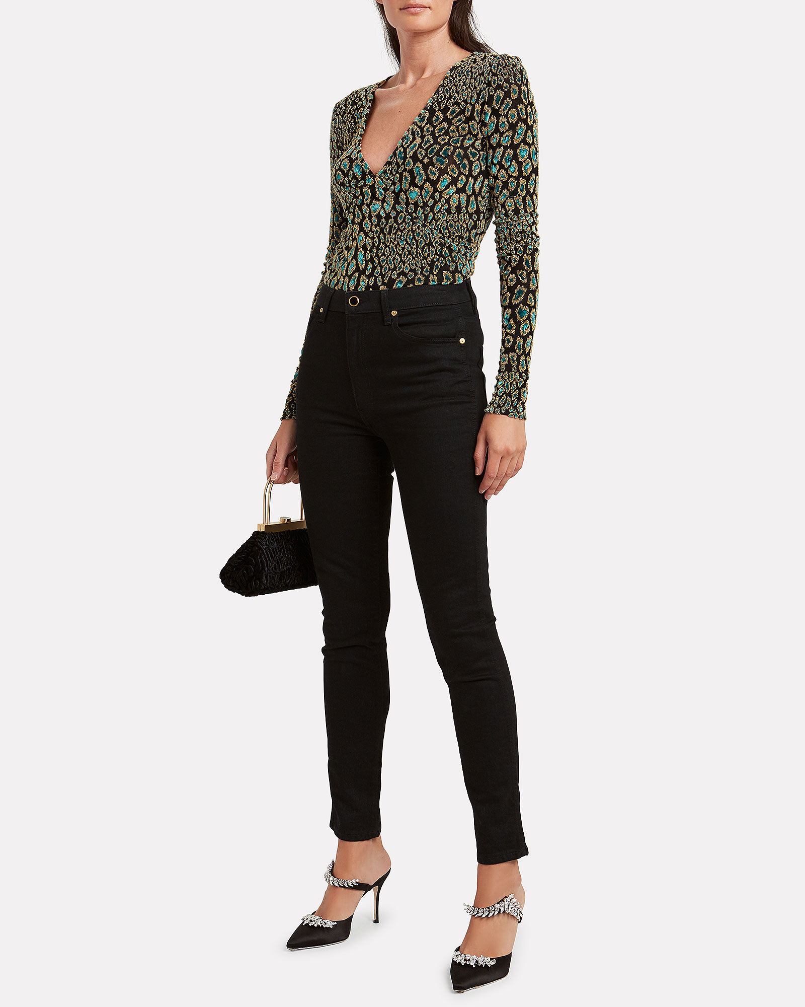 Leopard Night Out Wrap Top, BLACK/TURQUOISE LEOPARD, hi-res