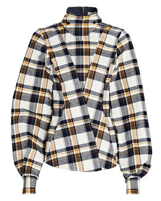 Plaid Flannel High Neck Top, WHITE/NAVY/YELLOW, hi-res