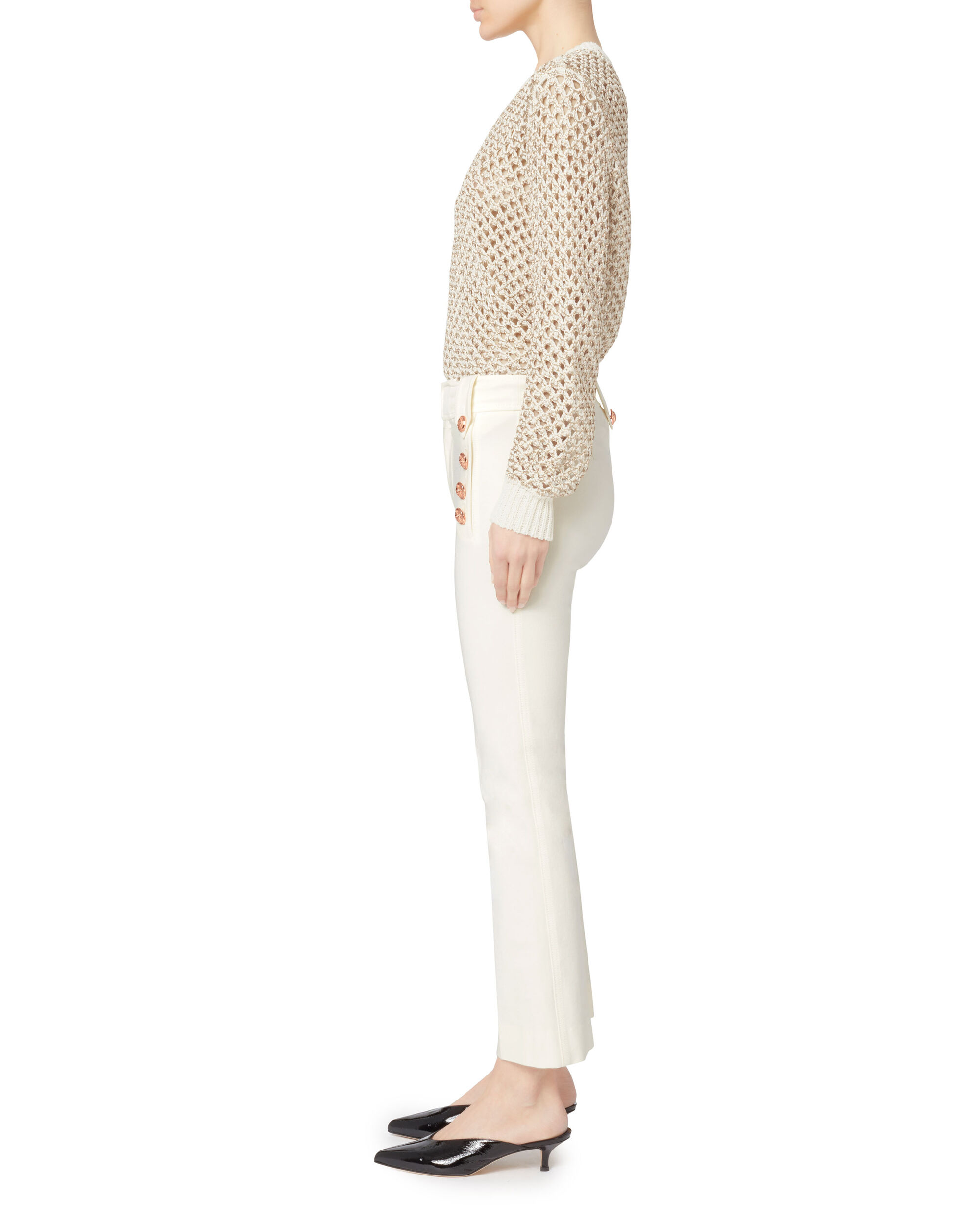 Cropped White Flare Sailor Trousers, IVORY, hi-res