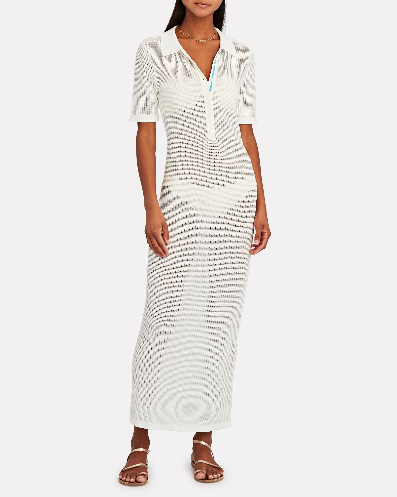 Leigh Knit Polo Midi Dress, WHITE, hi-res