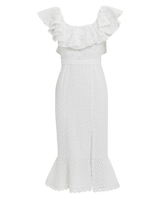 Ella Eyelet Midi Dress, WHITE, hi-res