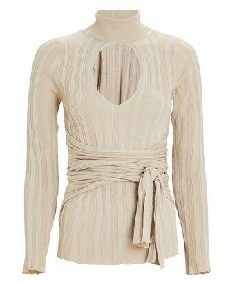 Cybll Cut-Out Rib Knit Top, BEIGE, hi-res