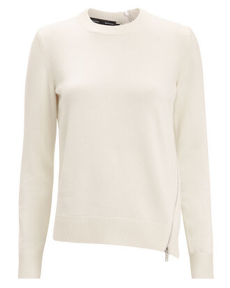Zip Detail Ivory Sweater, IVORY, hi-res