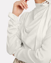 Espionage Tie Neck Silk Blouse, IVORY, hi-res