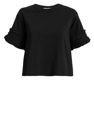 Black Ruffle T-Shirt, BLACK, hi-res
