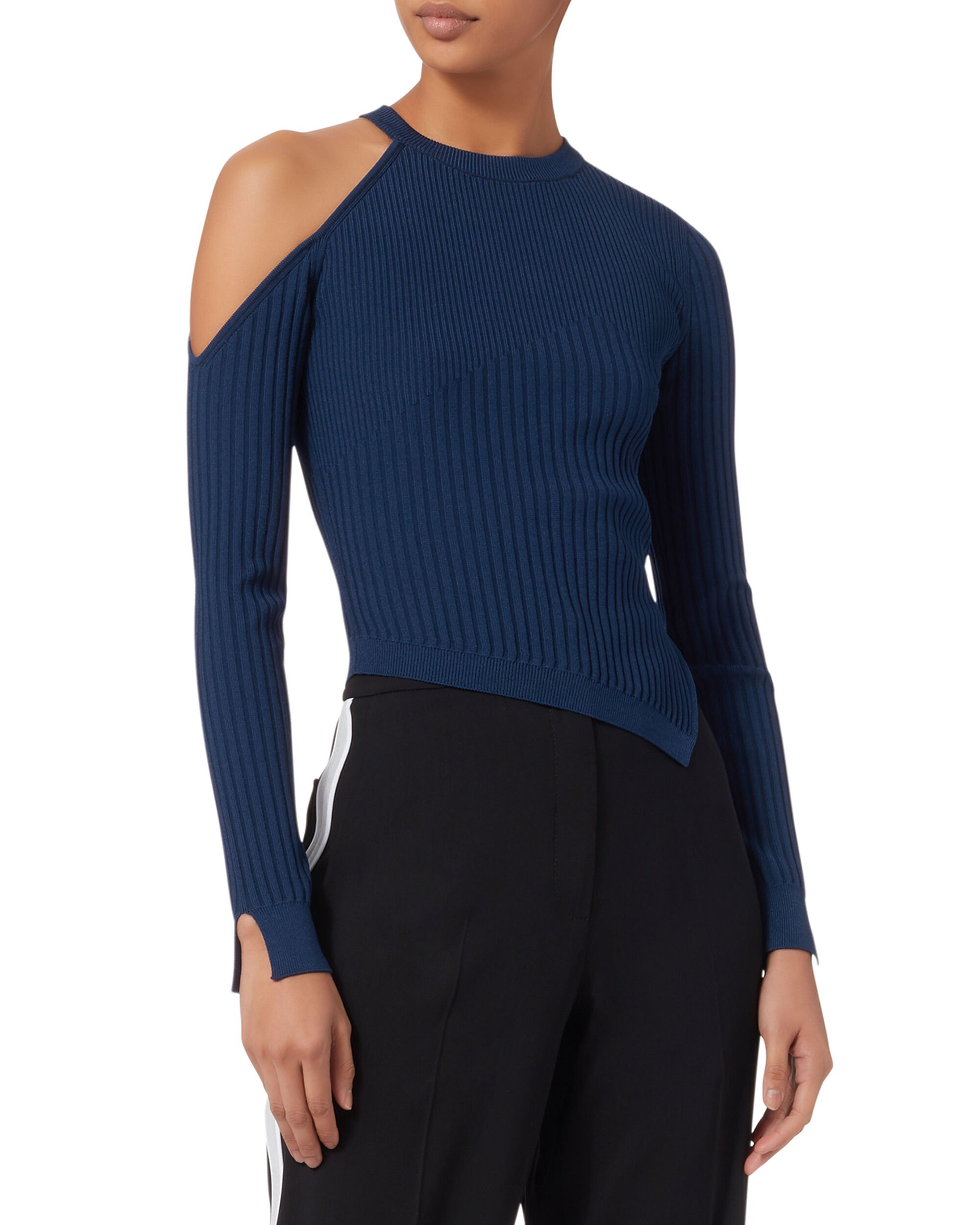 Cold Shoulder Asymmetrical Navy Sweater, NAVY, hi-res
