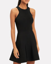 Knit Fit-And-Flare Dress, BLACK, hi-res