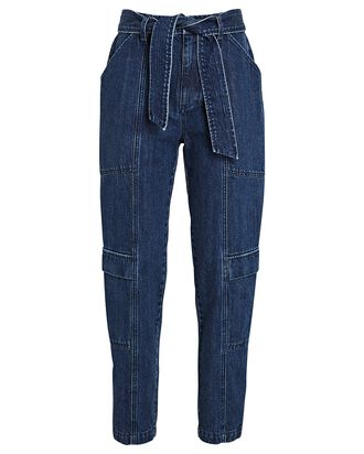 Athena Cropped Paperbag Jeans, DENIM-DRK, hi-res