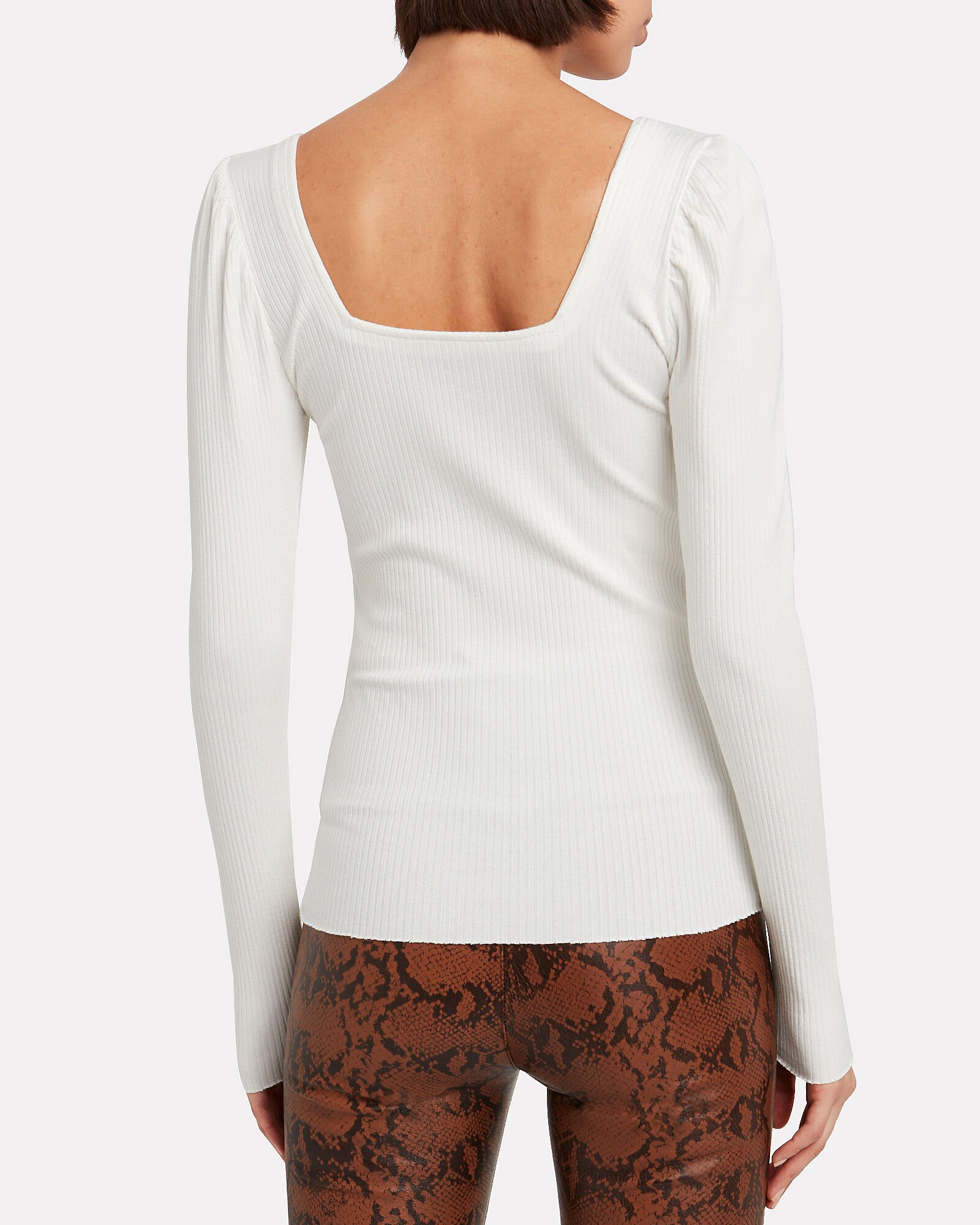 Puff Shoulder Ribbed Top, WHITE, hi-res