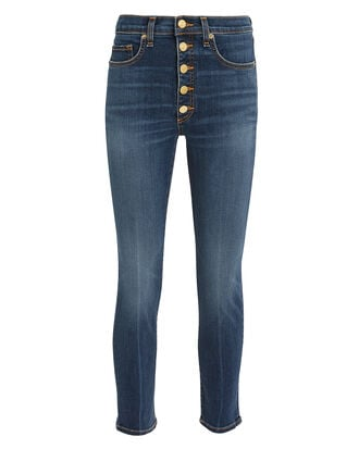 Debbie Gold Button Skinny Jeans, MEDIUM BLUE DENIM, hi-res