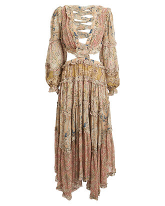 Freja Paisley Cut-Out Dress, BEIGE PAISLEY, hi-res
