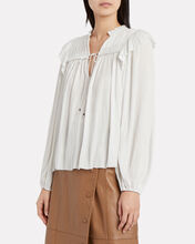 Emilda Pleated Crepe Blouse, WHITE, hi-res
