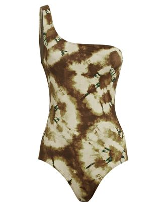 Martina Tie-Dye One-Shoulder Swimsuit, OLIVE, hi-res