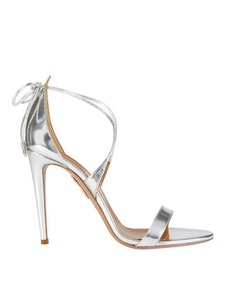 Linda Mirrored Silver Leather Sandals, , hi-res