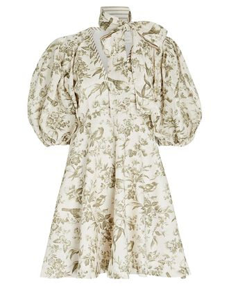 Toile du Jouy Linen Mini Dress, CREAM/OLIVE, hi-res