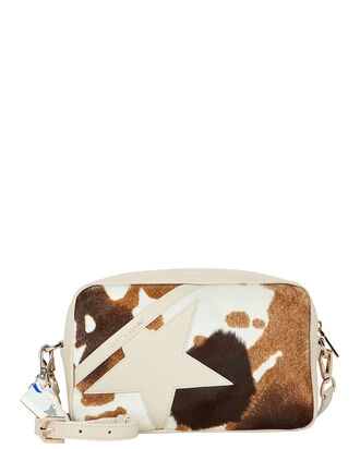 Logo Star Calf Hair Bag, BROWN/IVORY, hi-res