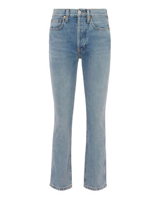 Double Needle Crop Jeans, DENIM, hi-res