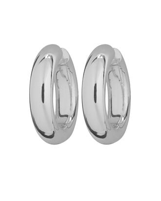 Large Silver Tube Hoops, SILVER, hi-res