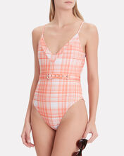 Belted Plaid One Piece, MULTI, hi-res