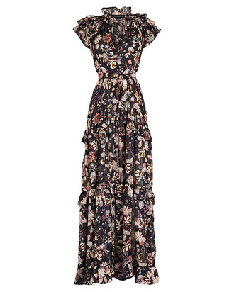 Gia Floral Chiffon Maxi Dress, BLACK/PINK, hi-res