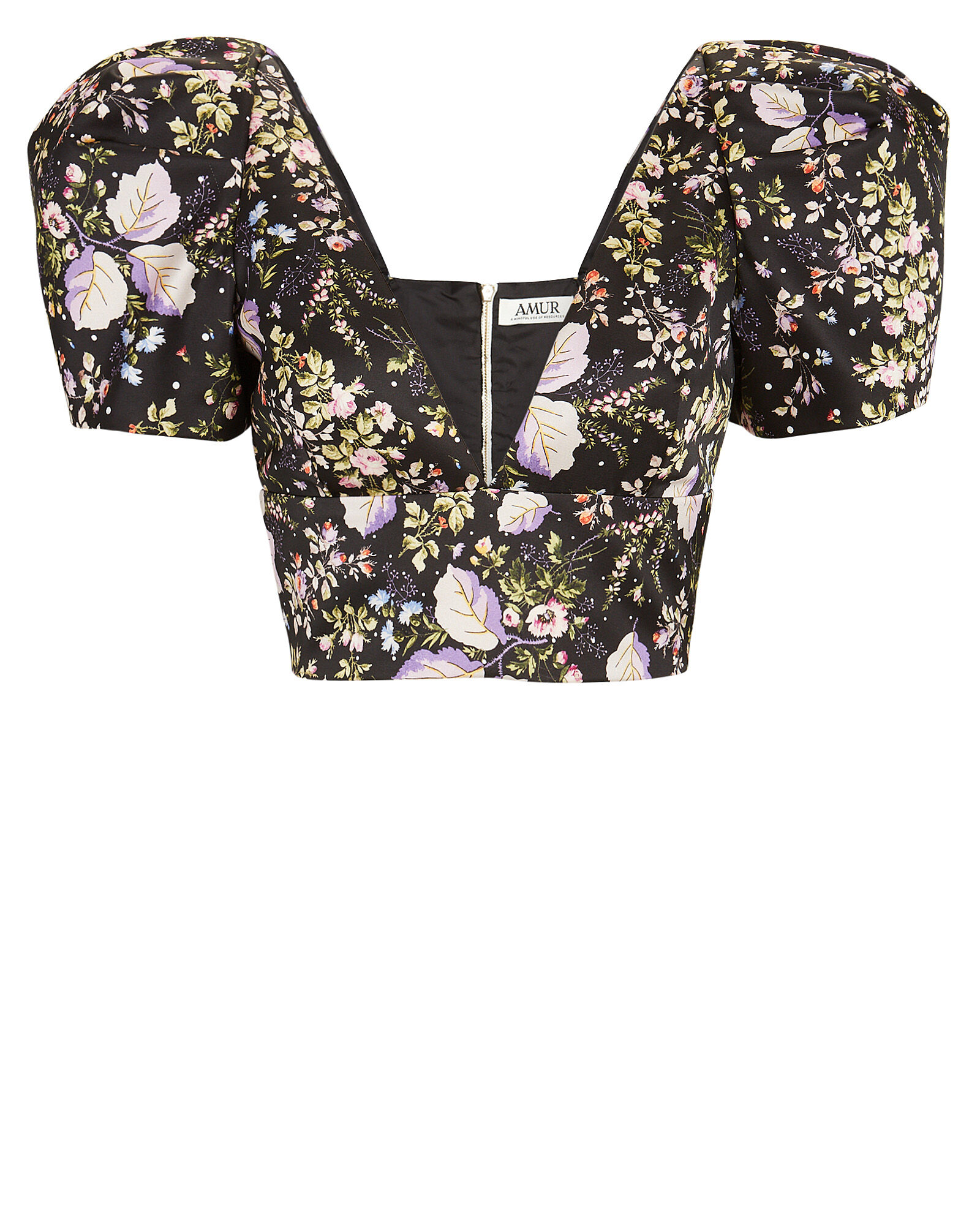 Sedona Floral Puff Sleeve Crop Top, BLACK, hi-res