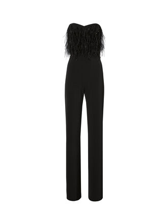 Aurelie Feathered Strapless Jumpsuit, BLACK, hi-res