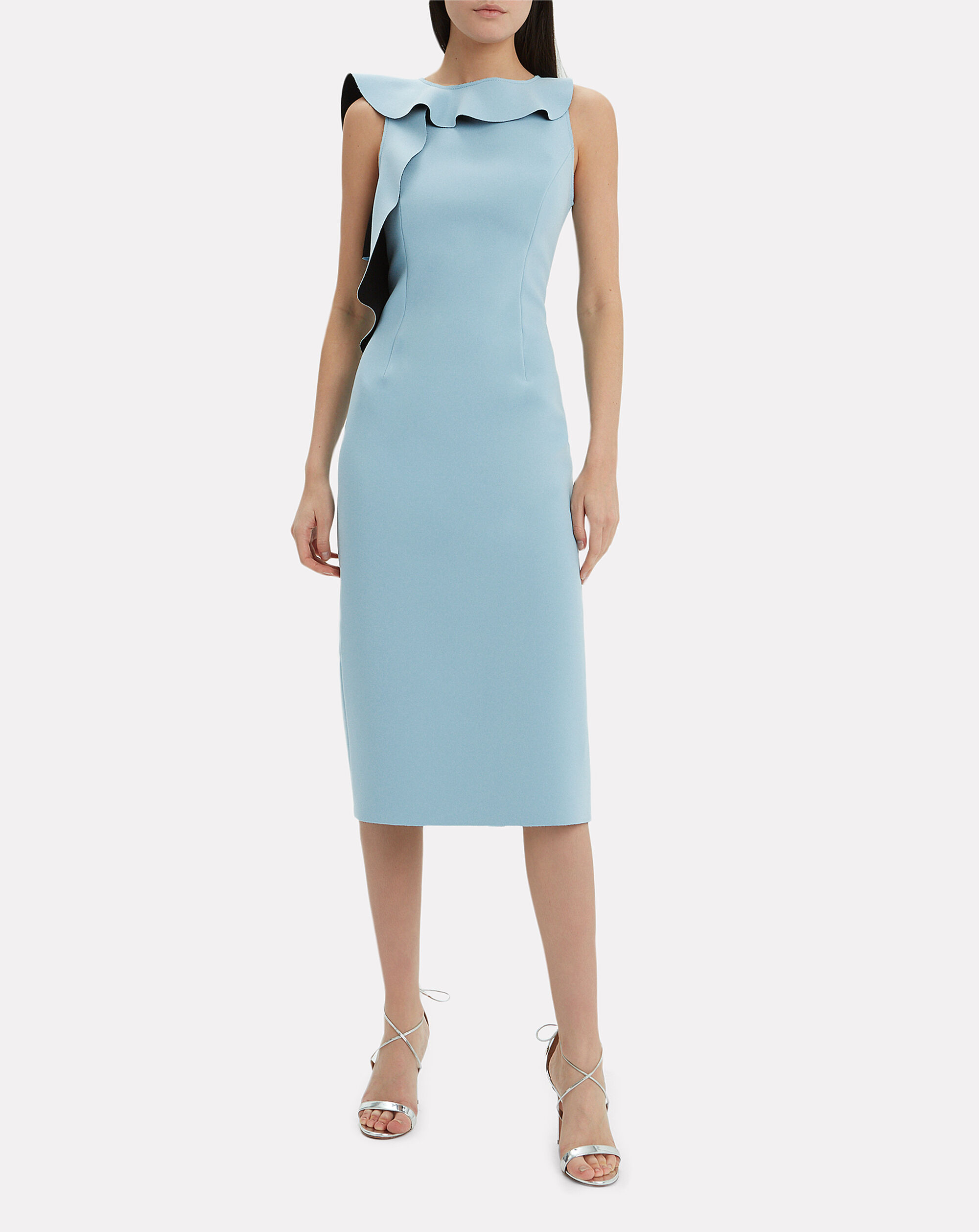 Asymmetric Ruffle Sheath Midi Dress, BLUE, hi-res