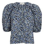 The Ravine Floral Puff Sleeve Top, BLUE/WHITE/BLACK, hi-res
