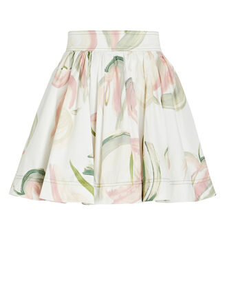 Imprint Floral Mini Skirt, IVORY/GREEN/PINK, hi-res