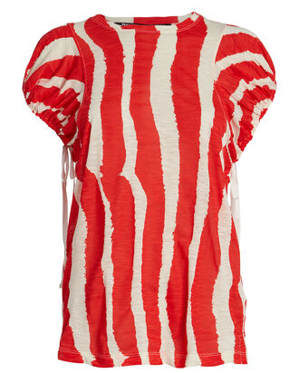Zebra-Striped Drawstring T-Shirt, POPPY/ECRU, hi-res