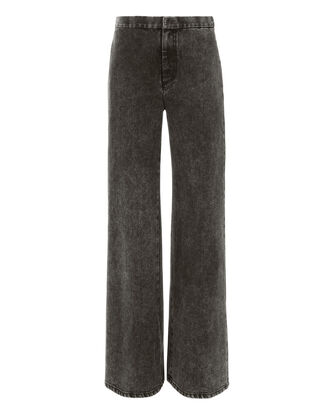 Acid Wash Wide Leg Denim Pants, BLACK, hi-res