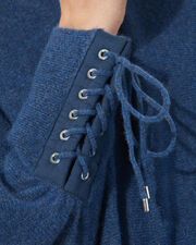 Laced Cuffs Pullover, BLUE-MED, hi-res