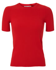Rib Knit Essential Red Tee, RED, hi-res