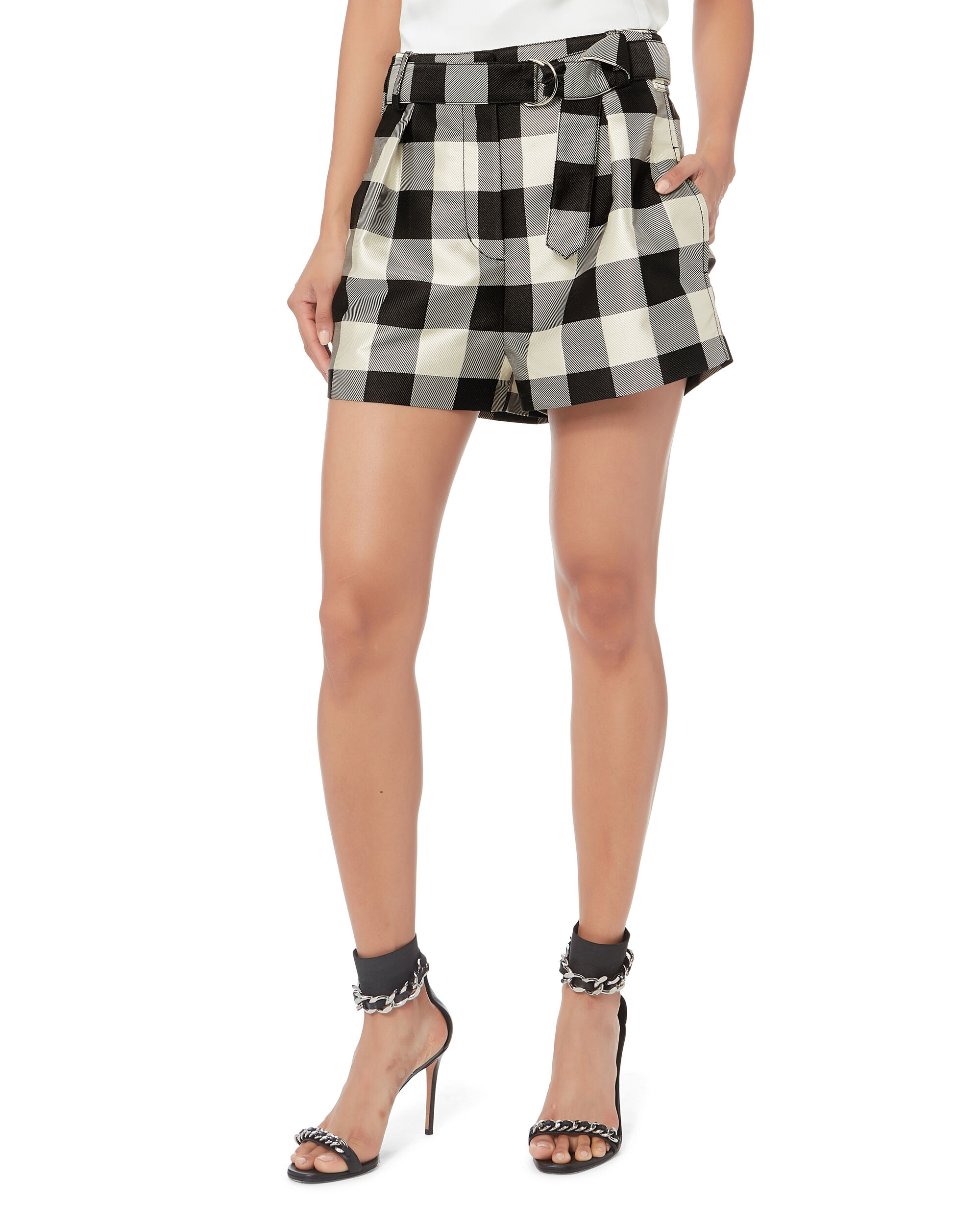 Gingham Belted Military Shorts, BLK/WHT, hi-res