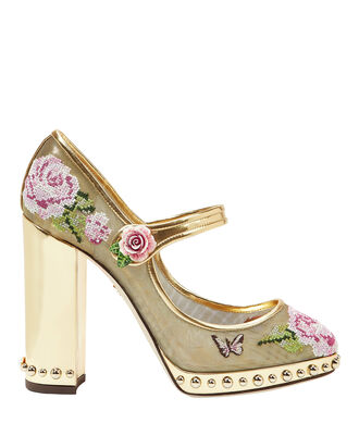 Floral Stitch Gold Mary Jane Pumps, GOLD, hi-res