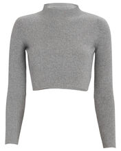 Enny Cropped Wool-Cashmere Sweater, GREY, hi-res