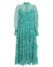 Moncur Floral Ruffled Silk Dress, MULTI, hi-res